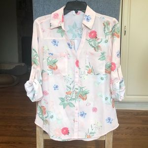 Express Pink Floral Slim Fit Portofino Shirt